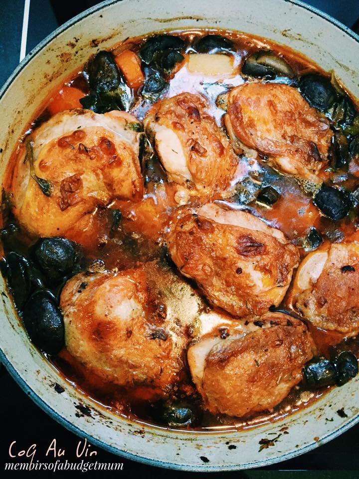 Coq Au Vin Chicken In Wine Memoirs Of A Budget Mum